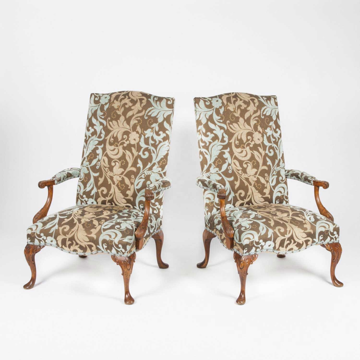 PAIR OF CARVED BEECH OPEN ARMCHAIRS