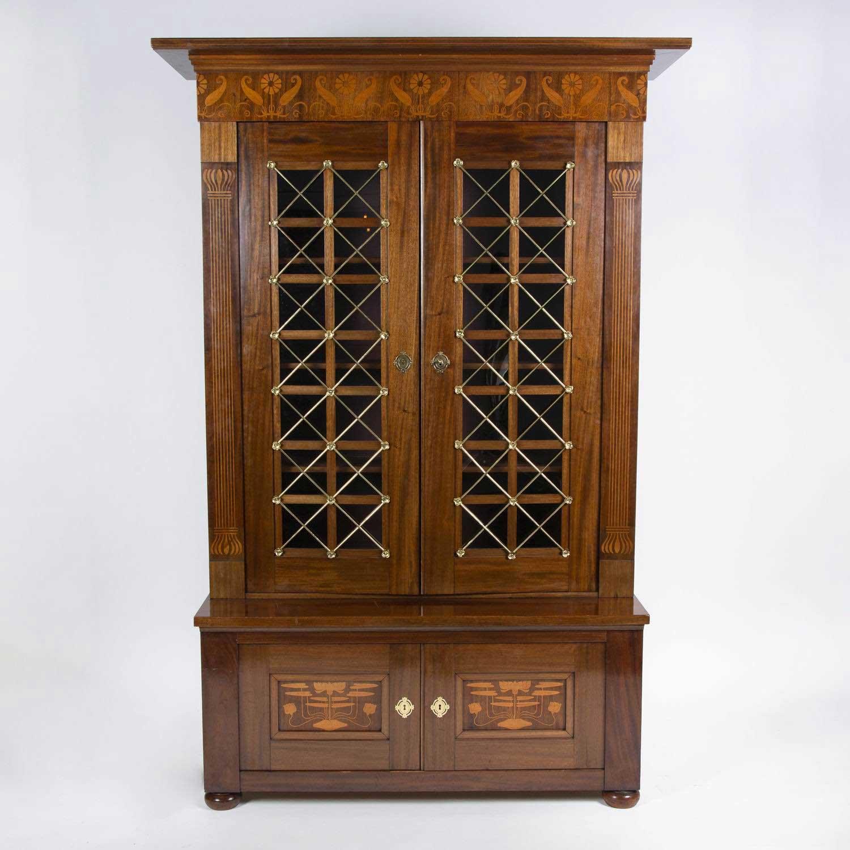 Marquetry Mahogany Bookcase